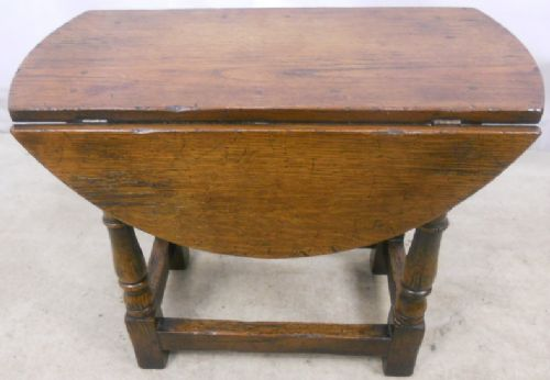 Antique Style Dark Oak Oval Dropleaf Coffee Table - SOLD